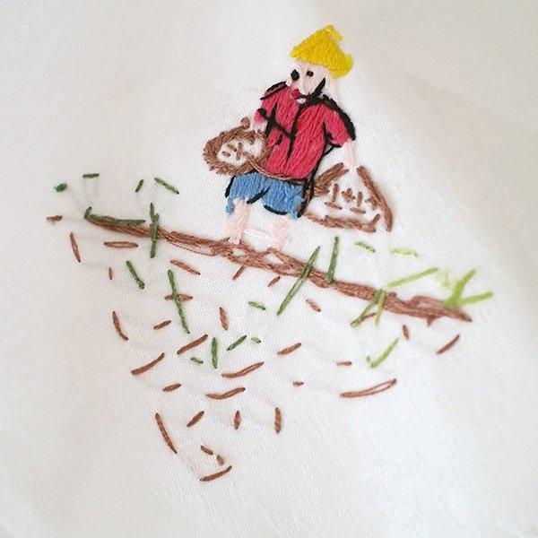 ベトナム 手刺繍 ハンカチ(田植えをする人)【画像4】