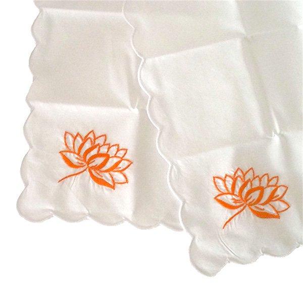 ベトナム 手刺繍 ハンカチ(蓮 ロータス)