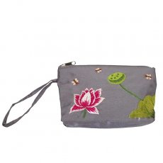 蓮 ロータス 雑貨 ベトナム ロータス 蓮の花 手刺繍 ポーチ (シルク グレー)