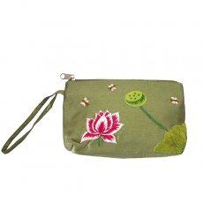 蓮 ロータス 雑貨 ベトナム ロータス 蓮の花 手刺繍 ポーチ (シルク グリーン)