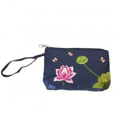 蓮 ロータス 雑貨 ベトナム ロータス 蓮の花 手刺繍 ポーチ (シルク ネイビー)