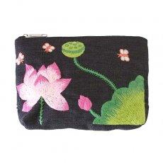 ベトナム 蓮の花(ロータス)コットン× 麻 手刺繍 ポーチ(ブラック ピンク)