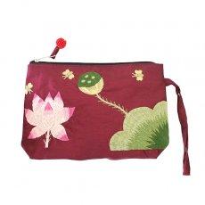 蓮 ロータス 雑貨 ベトナム  ロータス 蓮の花  手刺繍 ポーチ(シルク ビーズ付き レッド)