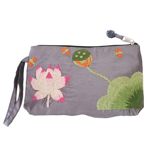 ベトナム  ロータス 蓮の花  手刺繍 ポーチ(シルク ビーズ付き グレー)
