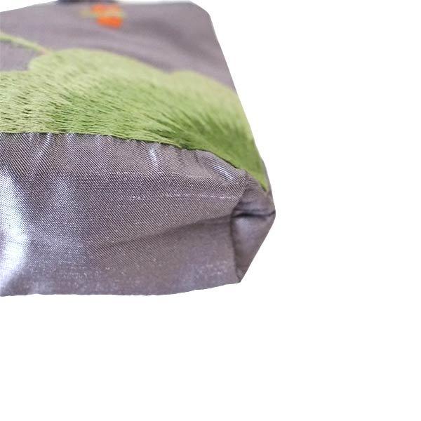 ベトナム  ロータス 蓮の花  手刺繍 ポーチ(シルク ビーズ付き グレー)【画像5】