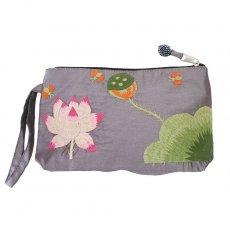 蓮 ロータス 雑貨 ベトナム  ロータス 蓮の花  手刺繍 ポーチ(シルク ビーズ付き グレー)
