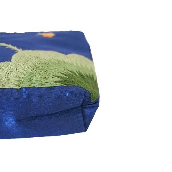 ベトナム 蓮の花(ロータス)シルク 手刺繍 ポーチ(ビーズ付き ブルー)【画像5】