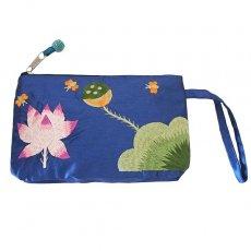 ベトナム 蓮の花(ロータス)シルク 手刺繍 ポーチ(ビーズ付き ブルー)