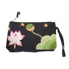 蓮 ロータス 雑貨 ベトナム  ロータス 蓮の花  手刺繍 ポーチ(シルク ビーズ付き ブラック)