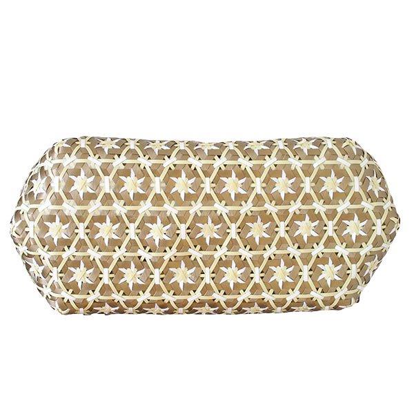 【サイズ大きめ】ベトナム プラカゴバッグ 花編み ゴールド×ホワイト (縦 30 横 50 マチ 20)【画像4】