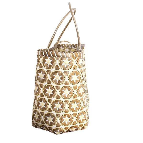 【サイズ大きめ】ベトナム プラカゴバッグ 花編み ゴールド×ホワイト (縦 30 横 50 マチ 20)【画像5】