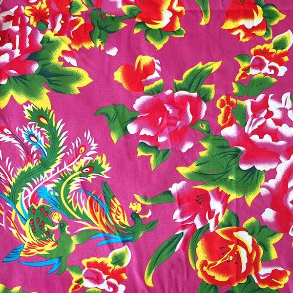 ベトナム 鳳凰と牡丹 カットオフ 幅約158/ 1m (ピンク)