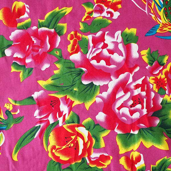ベトナム 鳳凰と牡丹 カットオフ 幅約158/ 1m (ピンク)【画像3】