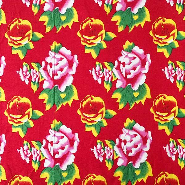 ベトナム 牡丹の花 カットオフ 幅約158/ 1m (レッド)