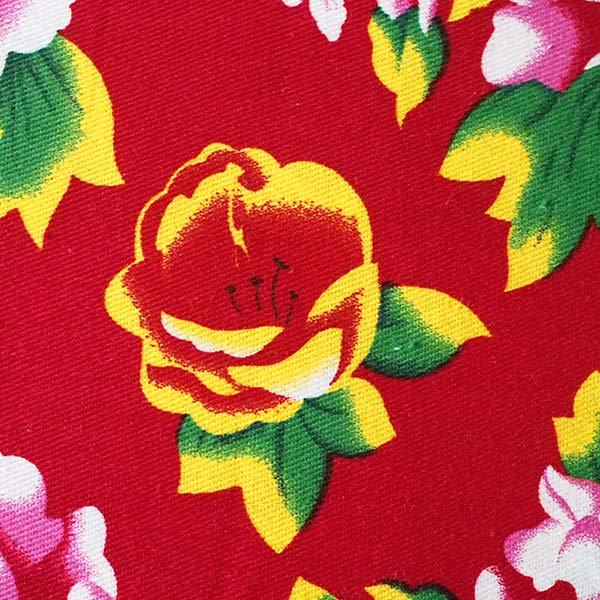 ベトナム 牡丹の花 カットオフ 幅約158/ 1m (レッド)【画像3】
