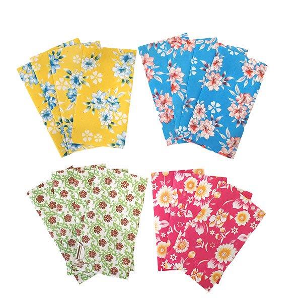 ベトナム 包装紙 花柄  小袋  4枚セット(単色)
