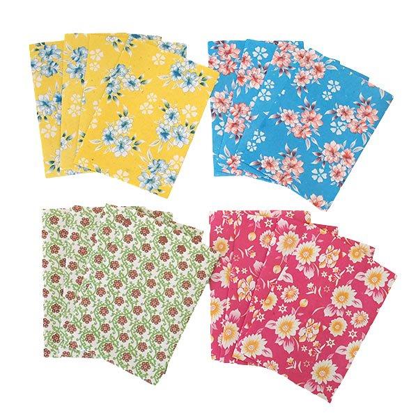ベトナム 包装紙 花柄   ポストカードサイズ  4枚セット(単色)