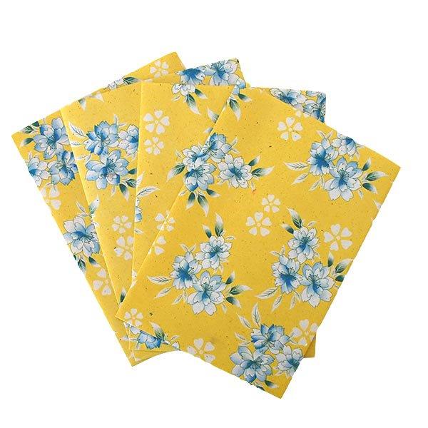 ベトナム 包装紙 花柄   ポストカードサイズ  4枚セット(単色)【画像2】