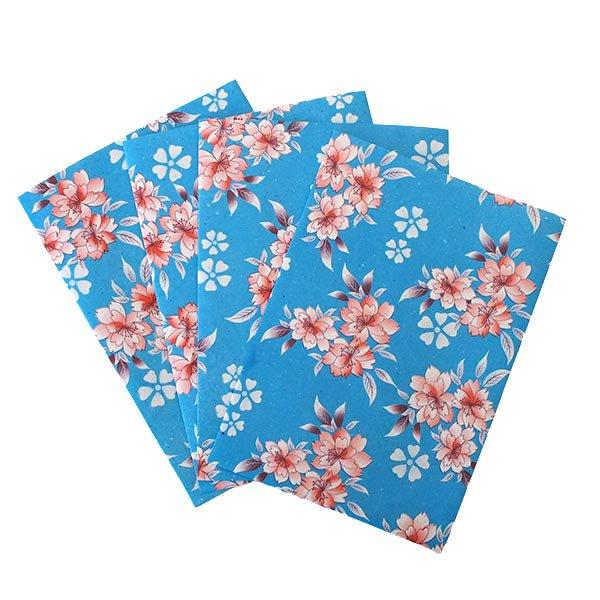 ベトナム 包装紙 花柄   ポストカードサイズ  4枚セット(単色)【画像3】