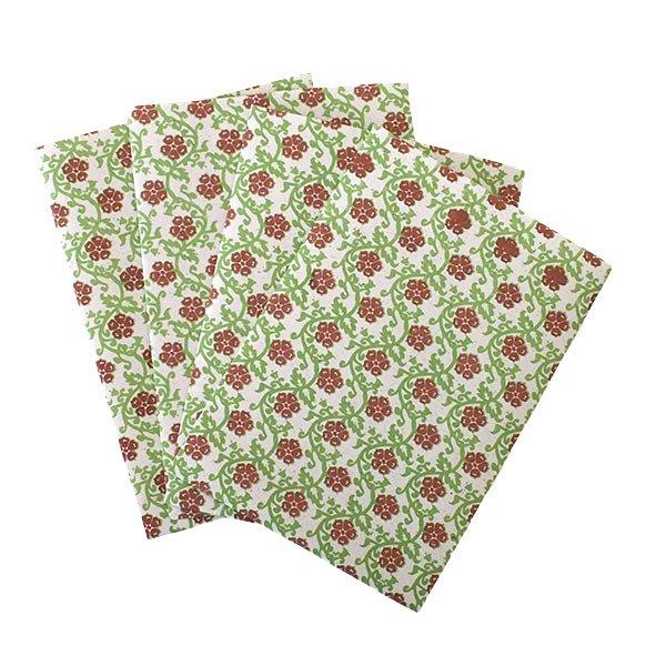ベトナム 包装紙 花柄   ポストカードサイズ  4枚セット(単色)【画像4】