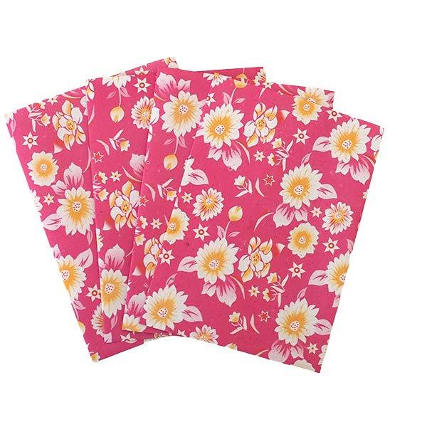 ベトナム 包装紙 花柄   ポストカードサイズ  4枚セット(単色)【画像5】