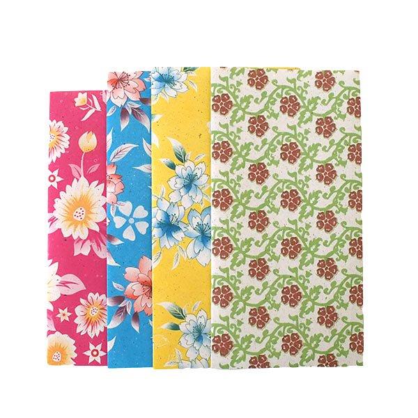 ベトナム 包装紙 花柄  小袋  4枚セット(ミックス)
