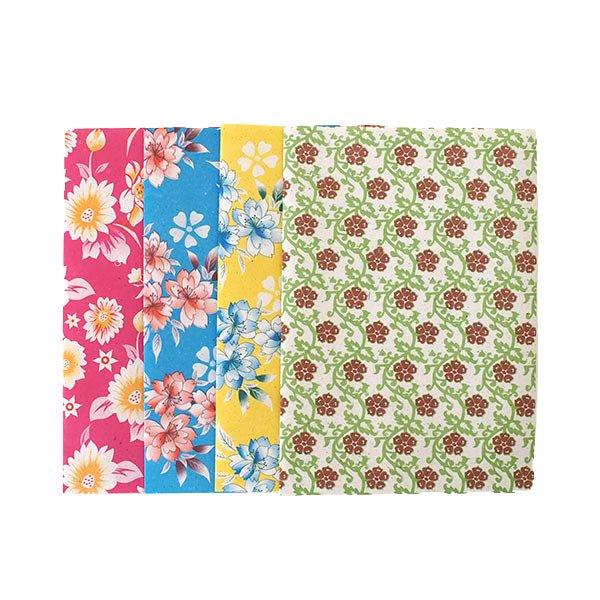 ベトナム 包装紙 花柄   ポストカードサイズ  4枚セット(ミックス)