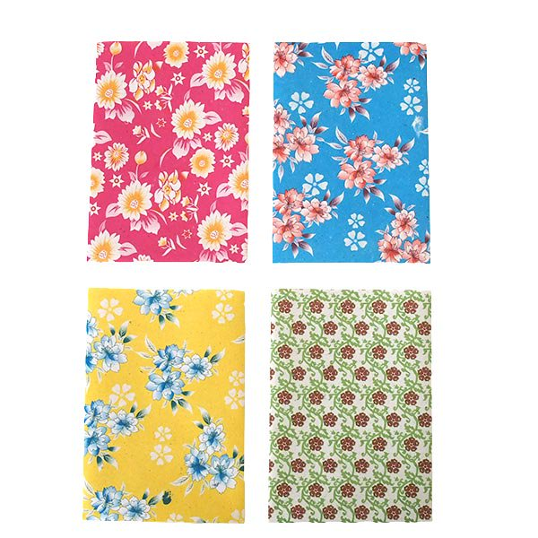 ベトナム 包装紙 花柄   ポストカードサイズ  4枚セット(ミックス)【画像2】
