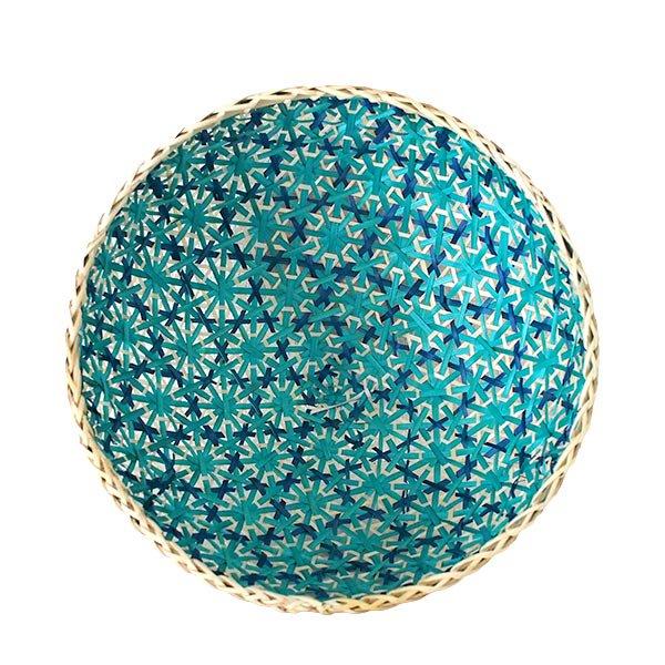 ベトナム 竹 花編み フードカバー (ブルー ざるなし 直径約33cm)【画像2】