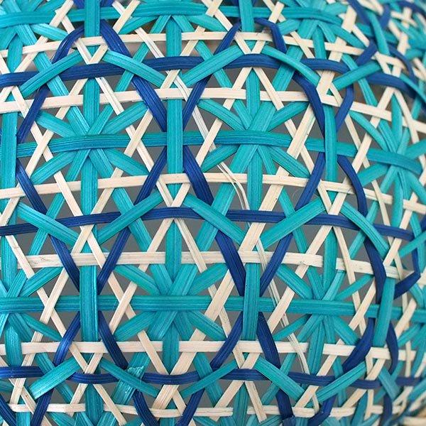 ベトナム 竹 花編み フードカバー (ブルー ざるなし 直径約33cm)【画像3】