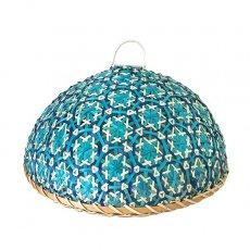 ベトナム 竹 花編み フードカバー (ブルー ざるなし 直径約33cm)