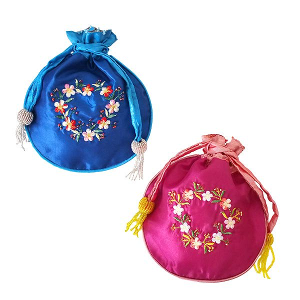 ベトナム 花刺繍 巾着 (ビーズ付き 5色 )【画像7】