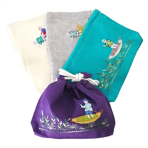 ベトナム 手刺繍 巾着 (船を漕ぐ  4色)