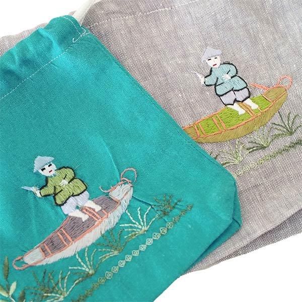 ベトナム 手刺繍 巾着 (船を漕ぐ  4色)【画像2】