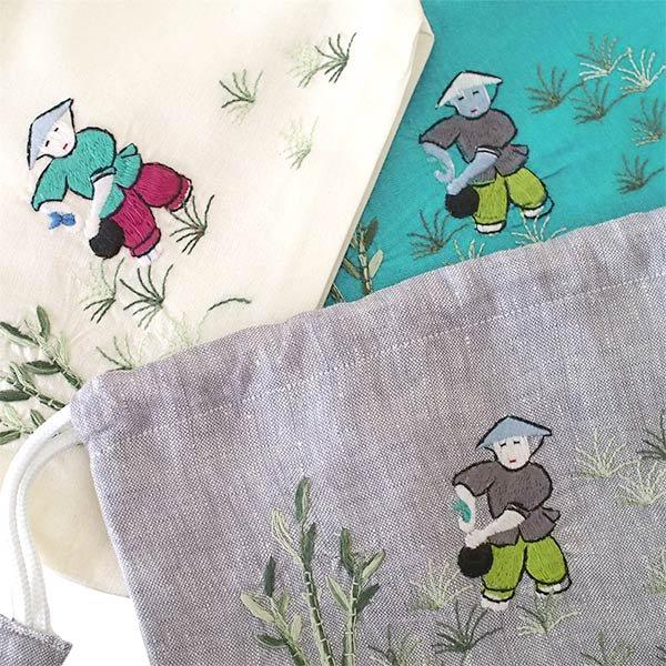 ベトナム 手刺繍 巾着 (田植えをする 5色)【画像2】