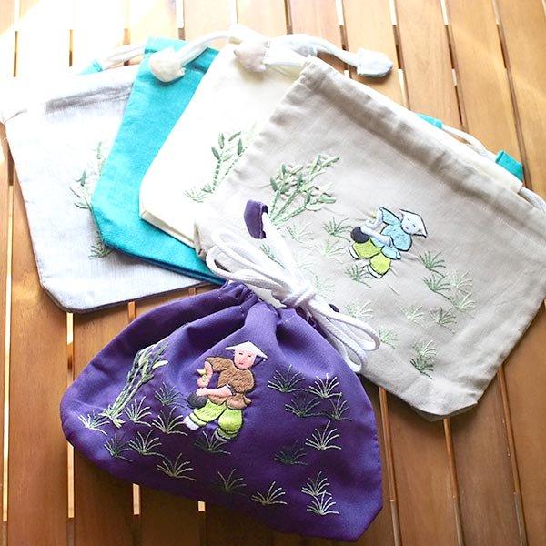 ラウンド型花刺繍巾着