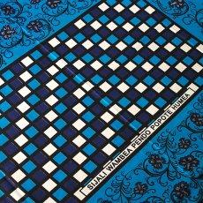 青・ブルー 雑貨 アフリカ ケニア カンガ プリント布 113×160(ブルー 日本語訳不明)