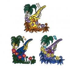 ゾウ 刺繍 ワッペン (アイロンOK)