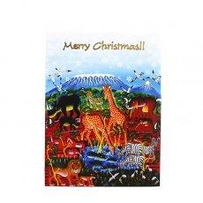 世界に繋がるお買い物 ティンガティンガ アート ミニ クリスマスカード(封筒付き)