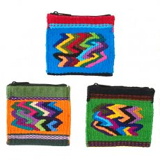 青・ブルー 雑貨 グアテマラ カラフルなコインケース(つづれ織りA)