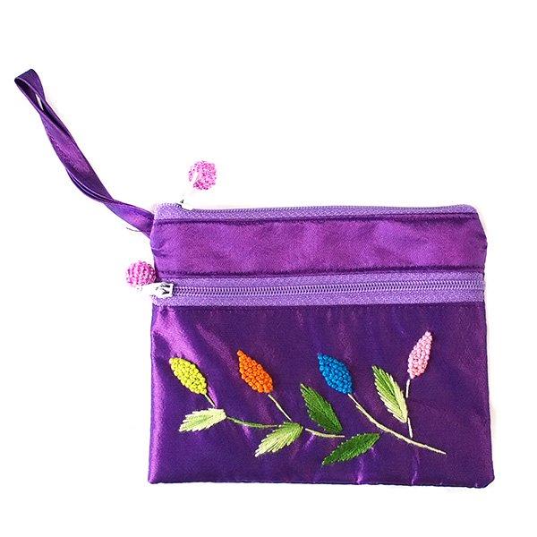 ベトナム刺繍 シルクポーチ(葉っぱ ビーズ付き)