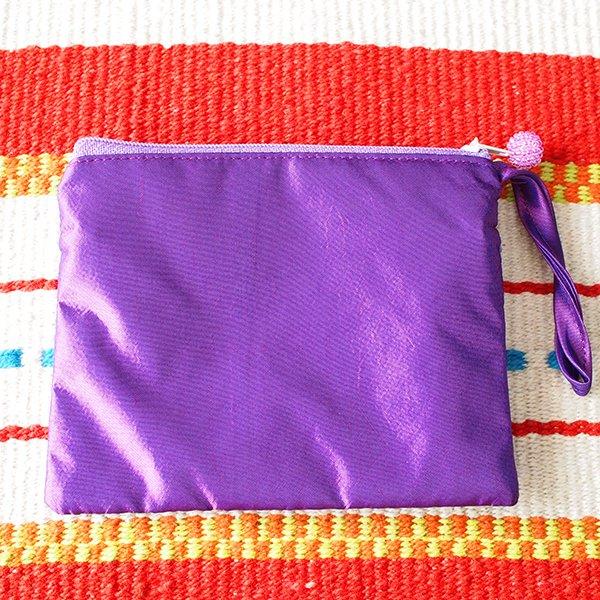 ベトナム刺繍 シルクポーチ(葉っぱ ビーズ付き)【画像4】