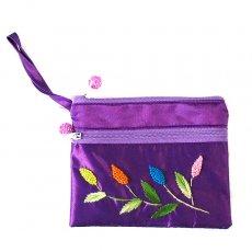 紫・パープル ベトナム刺繍 シルクポーチ(葉っぱ ビーズ付き)