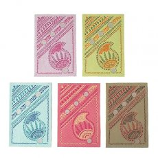紫・パープル インド Chimanlals メッセージカード(ペイズリー)