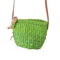 緑・グリーン 雑貨 ケニア サイザル ポシェット (キミドリ)