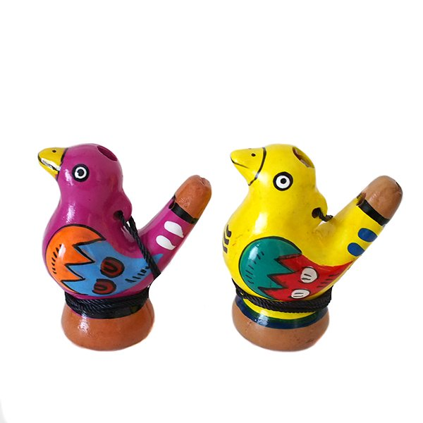 ペルー 素焼き トリの水笛(紐付き)【画像2】