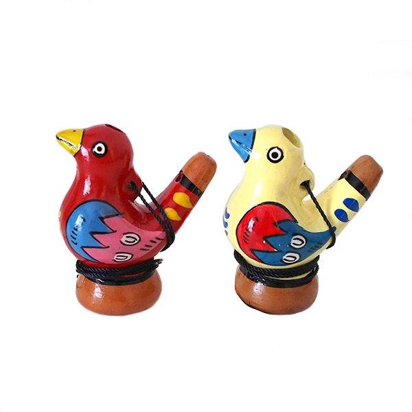 ペルー 素焼き トリの水笛(紐付き)【画像4】
