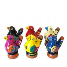 ペルー 素焼き トリの水笛(紐付き)