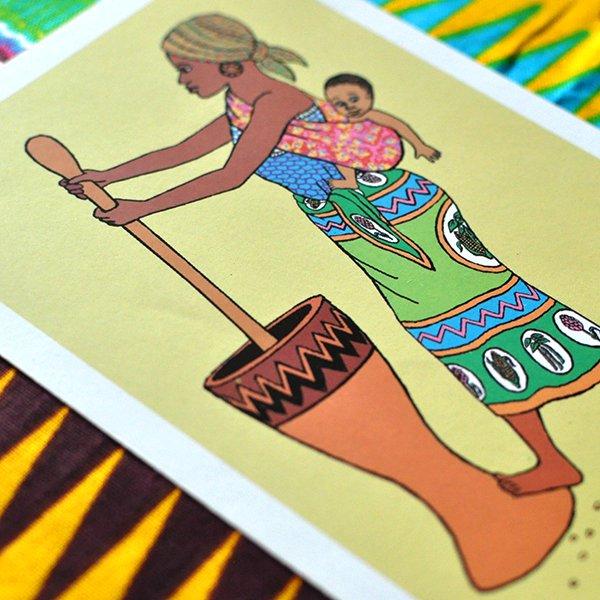 ケニア イラストメッセージカード F(封筒付き)【画像3】