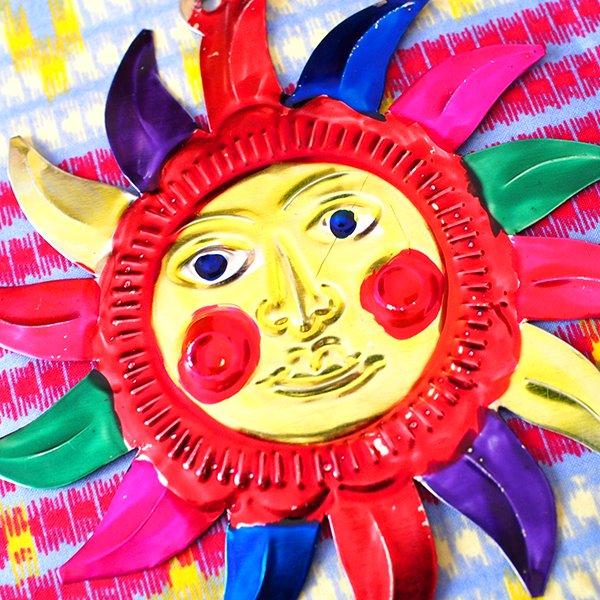 メキシコ ブリキオーナメント(太陽)【画像4】